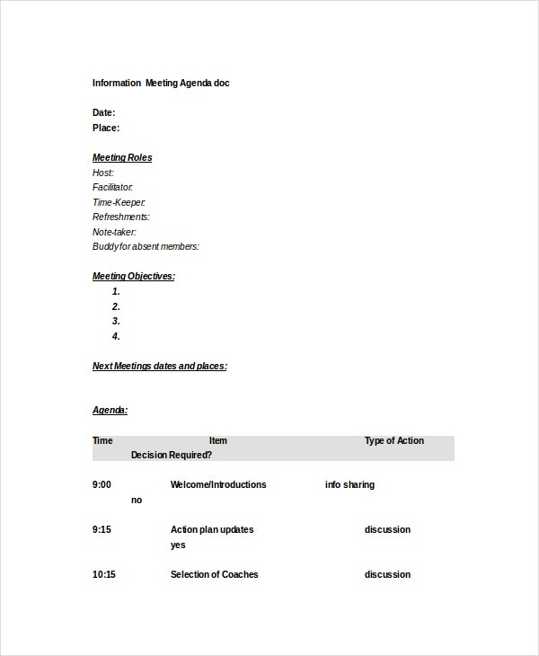 Microsoft Meeting Agenda Template 10 Free Word PDF Documents – Microsoft Word Agenda Templates