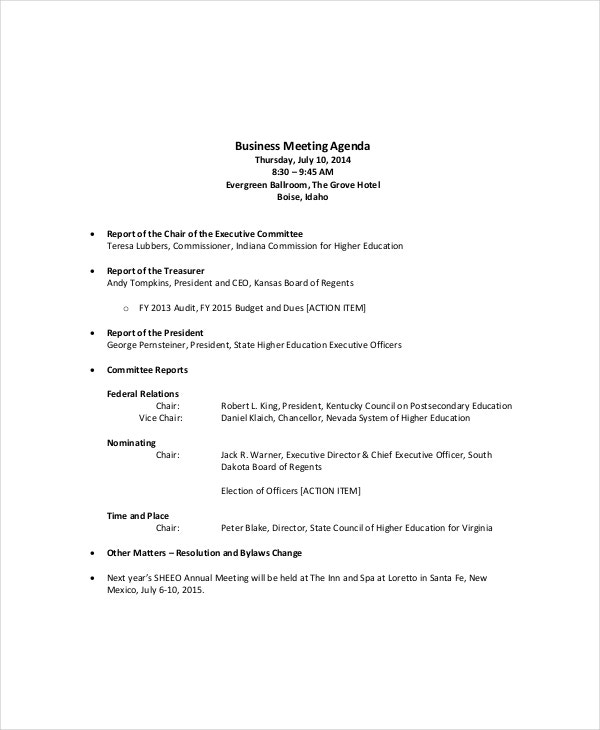 Microsoft Meeting Agenda Template – 10+ Free Word, Pdf Documents