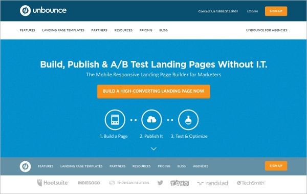 unbounce publish ab test landing pages