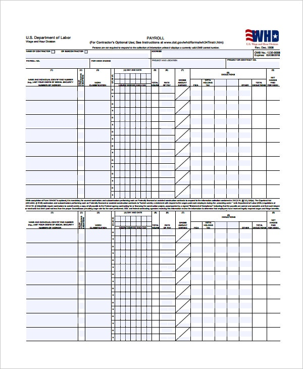 Certified Payroll Template  Payroll Forms Free