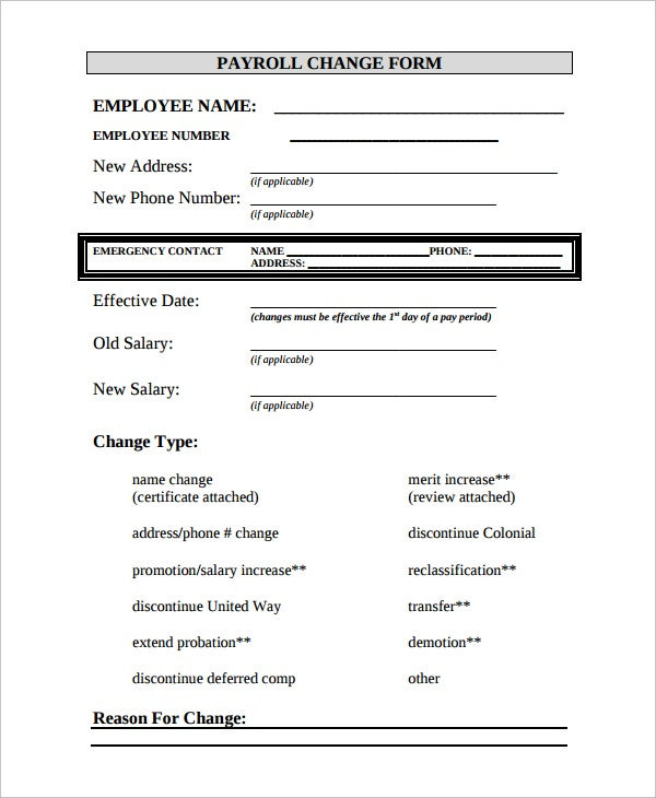 Employee change form move add change form move add change for Payroll change notice form template