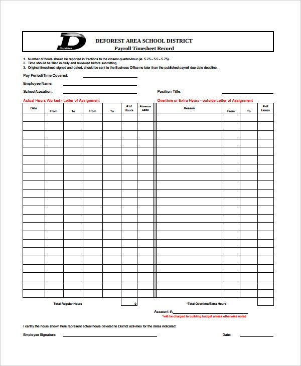 payroll timesheet record template