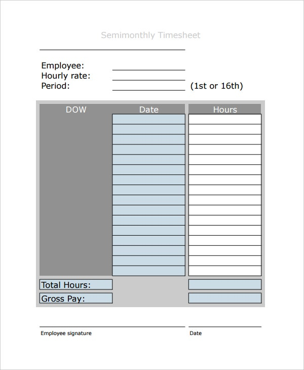 semimonthly timesheet payroll template