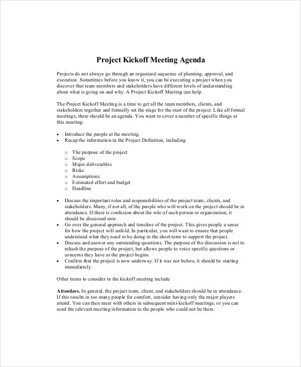 general project meeting agenda template