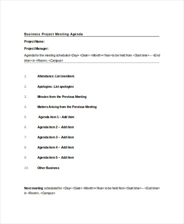Project Meeting Agenda Template 10 Free Word PDF Documents – Business Agenda Template