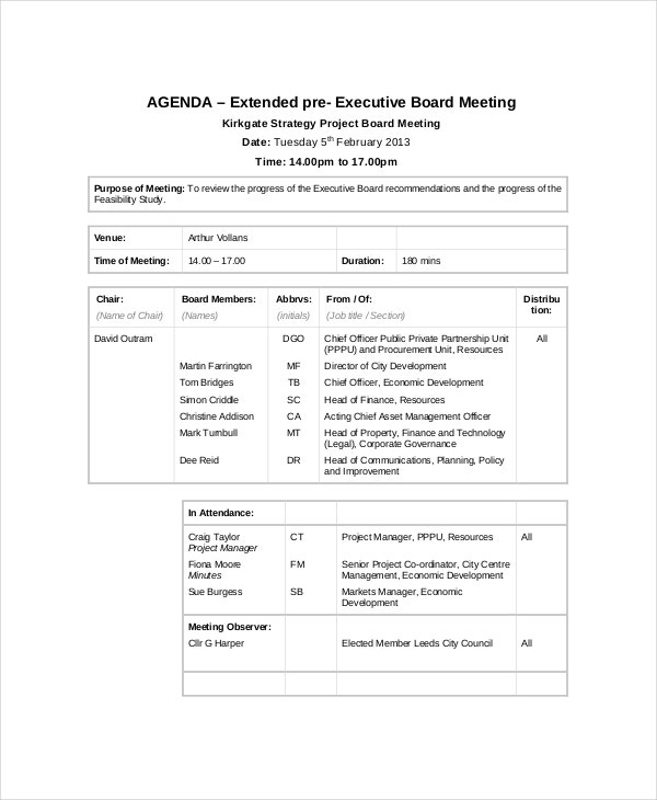 strategic project meeting agenda template