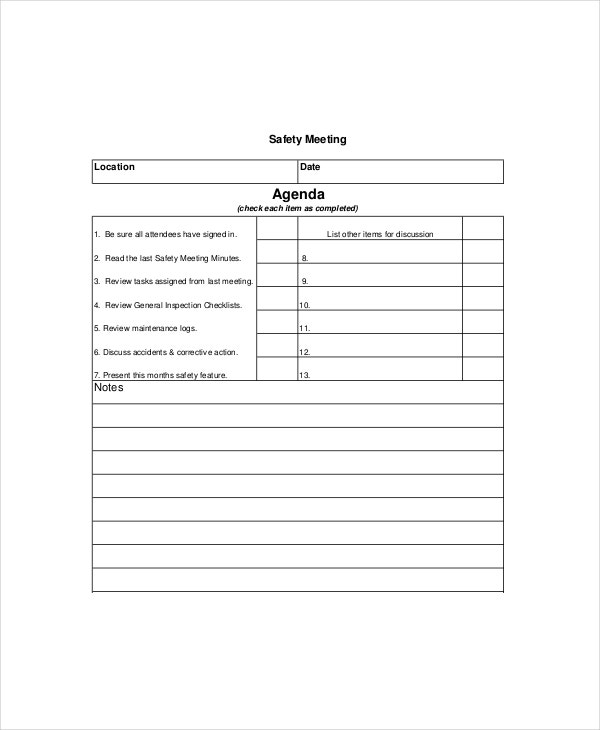 generic safety meeting agenda template