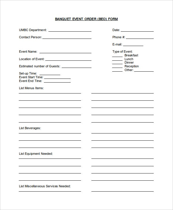 banquet event order form template