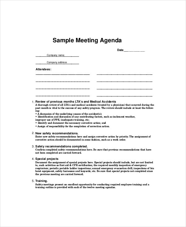 Safety meeting agenda template 8 free word pdf for First board meeting agenda template