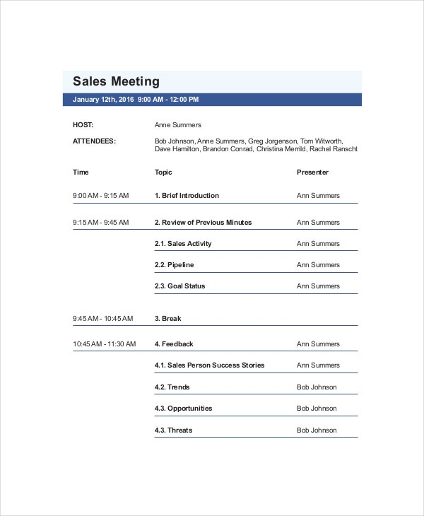 Sales Meeting Agenda Template For Business  Business Meeting Agenda Template Word