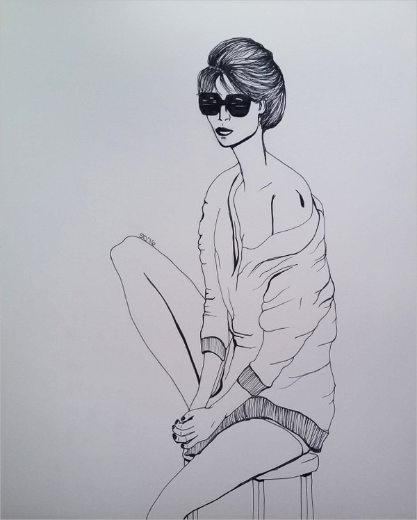 Fashion Wall Art Pen Drawing