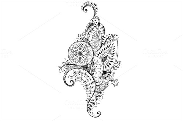 Mehendi Pattern Pen Drawing