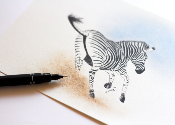 Zebra Art Pen Drawing