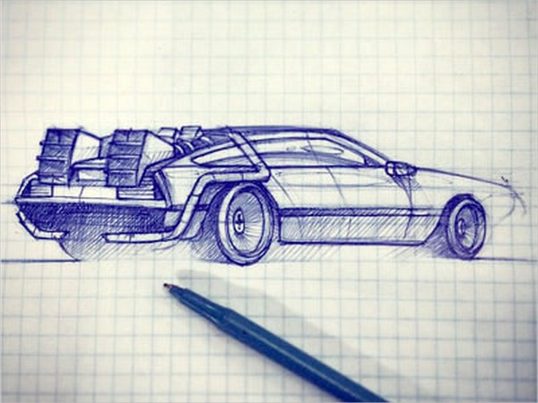 Blue Car Pen Drawing