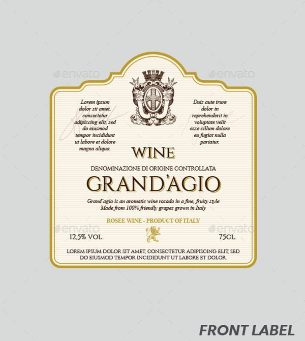 wine label vector template