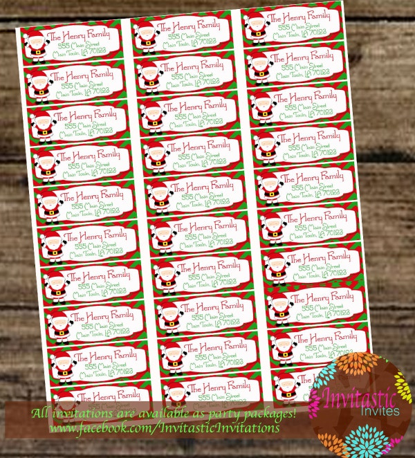 custom christmas santa printable mailing label template