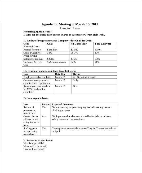 Sales Meeting Agenda Template   Free Word Pdf Documents