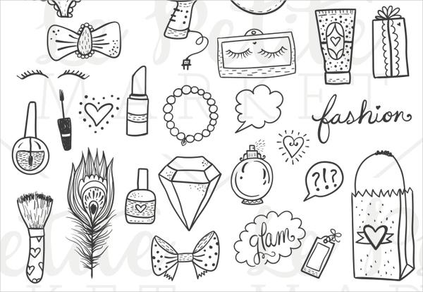 Hand Drawn Fashion Icons Set