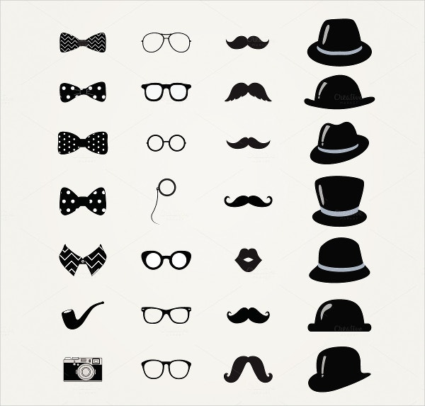 Vintage Black and White Hipster Icons