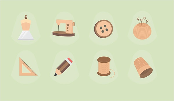Fashion Designer Flat Icons