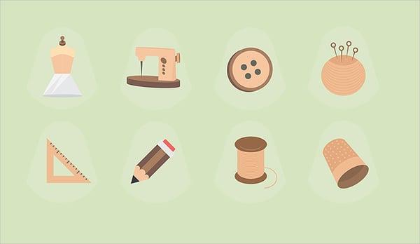 Fashion Designer Flat Icons