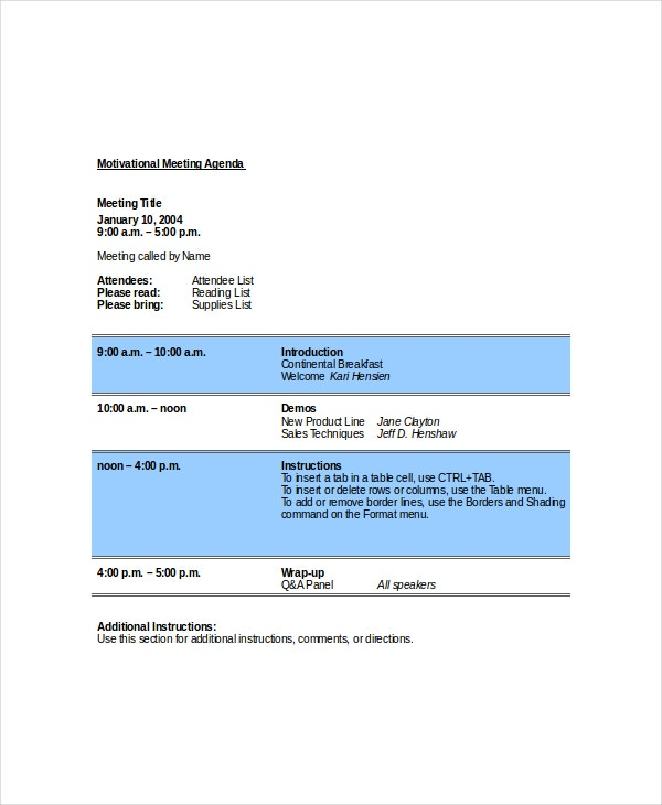 motivational meeting agenda template