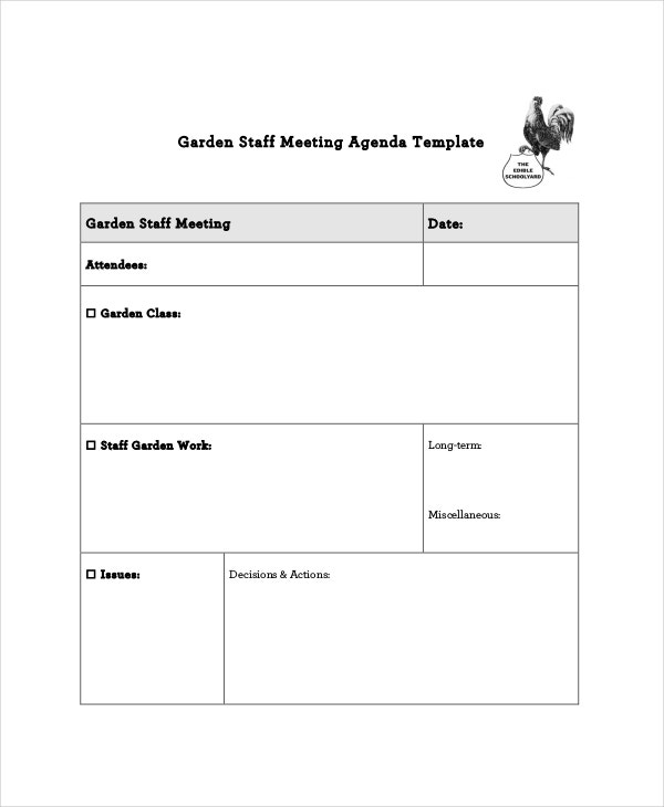 garden staff meeting agenda template