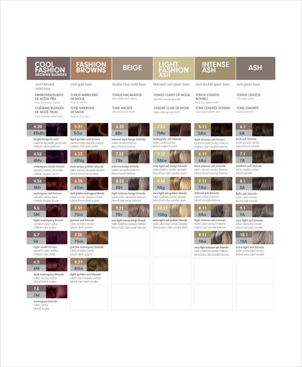 Hair Color Chart Template  9 Free Word PDF Documents Download  Free Amp