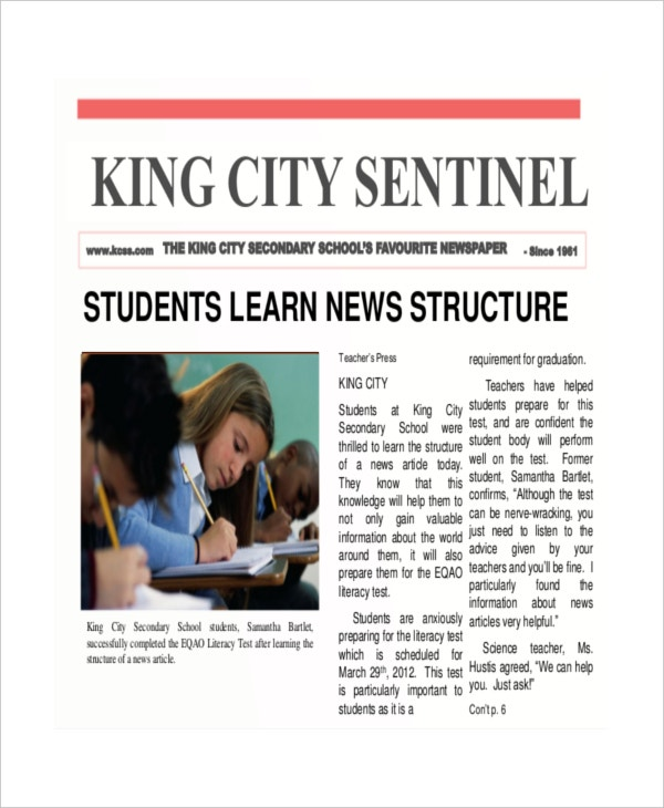 Student Newpaper Template