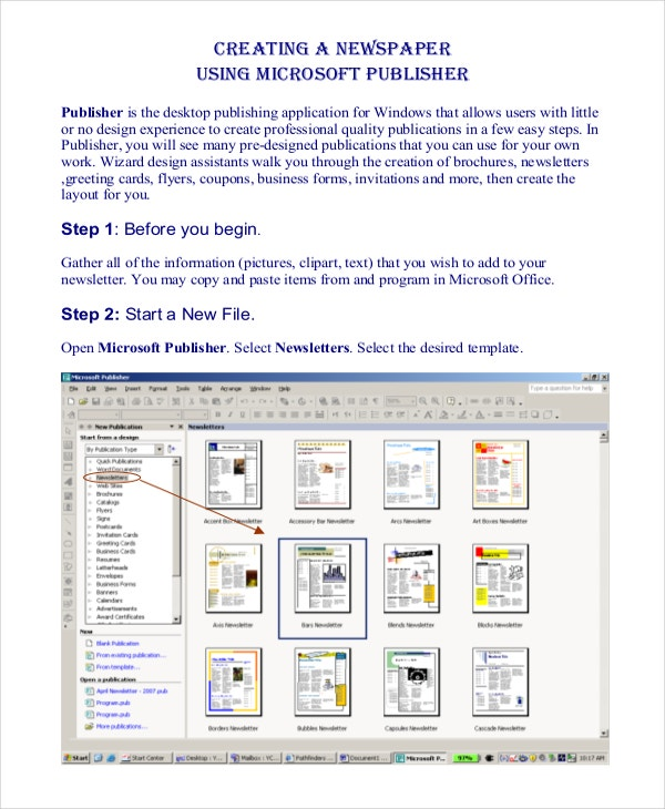 newspaper template for publisher
