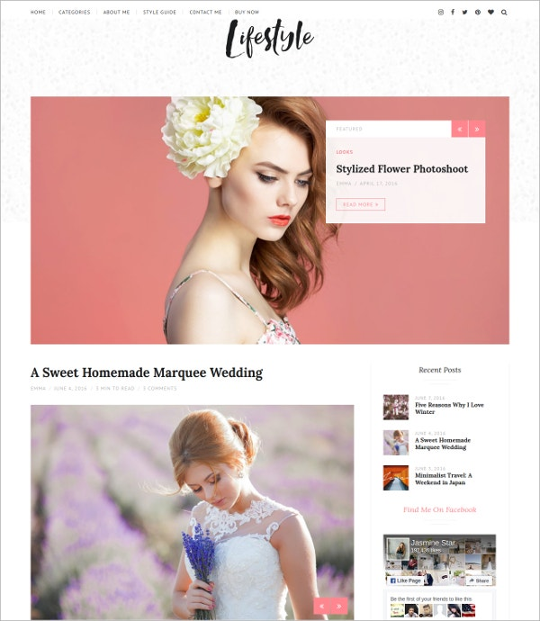 Lifestyle WordPress Blog Theme $49