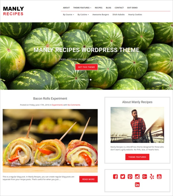 Minimal Recipe WordPress Theme $49