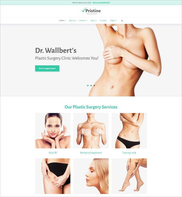 Plastic Surgery Services WordPress Theme $75