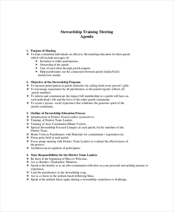 training meeting agenda