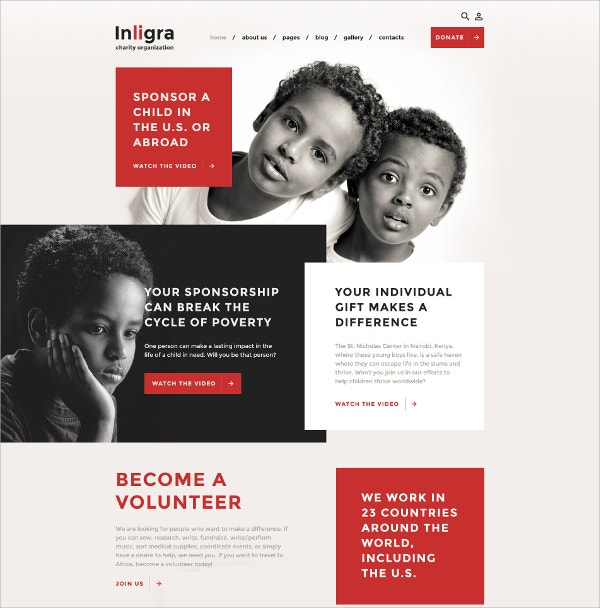 Child Sponsorship Joomla Template $75