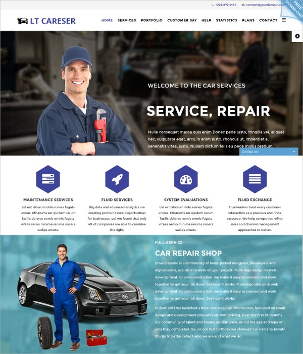 Services One Page Joomla Template $19