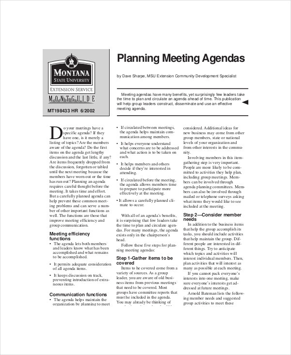 planner meetings agenda
