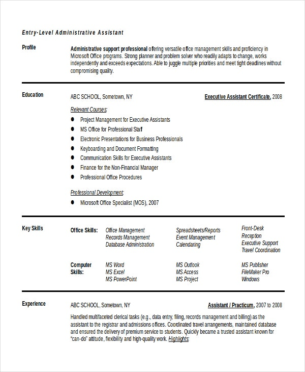 Resume Download for Entry Level Admin Executive in MS Doc