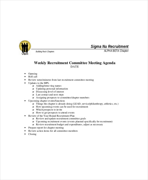 weekly recruitment committee meeting agenda