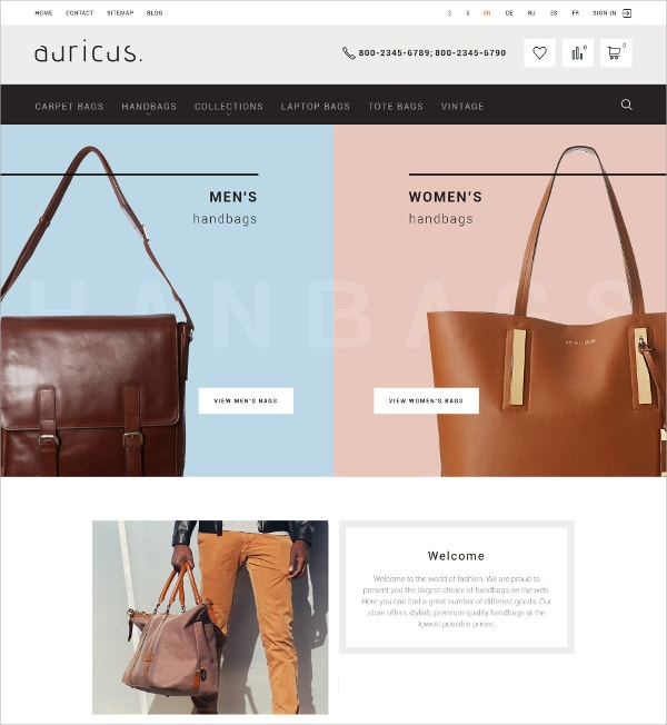 Handbag Responsive PrestaShop Blog Theme $139