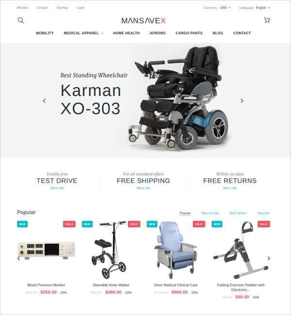 Medical Equipment PrestaShop Blog Theme $139