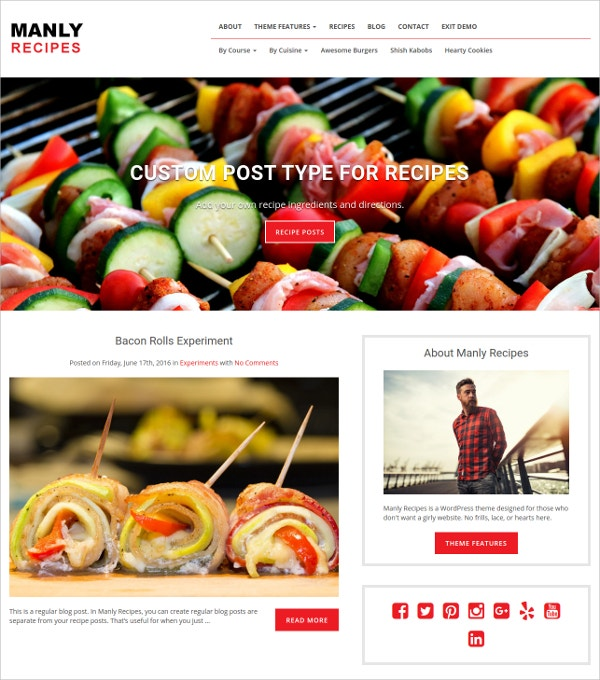 Minimal Recipes WordPress Blog Theme $49