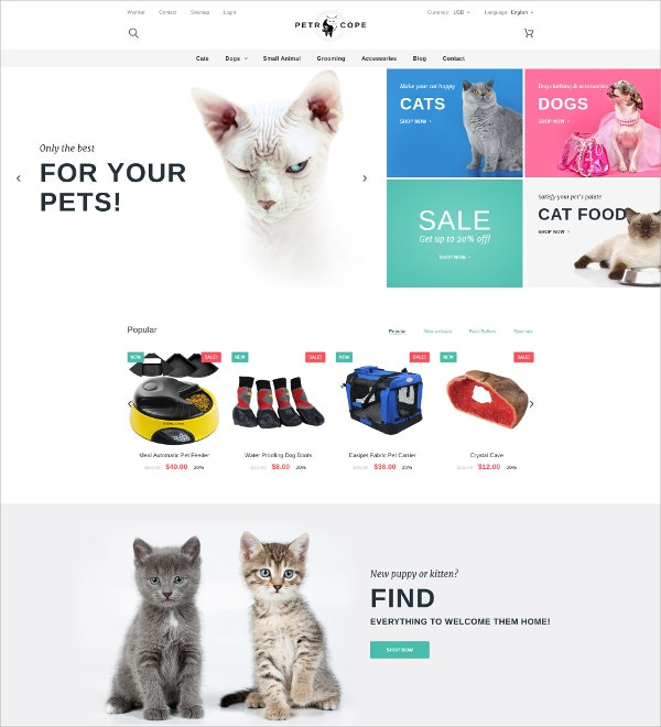 Pet Store PrestaShop Blog Theme $139