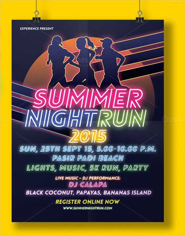 summer night run event flyer