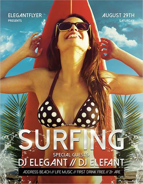 summer surfing event flyer