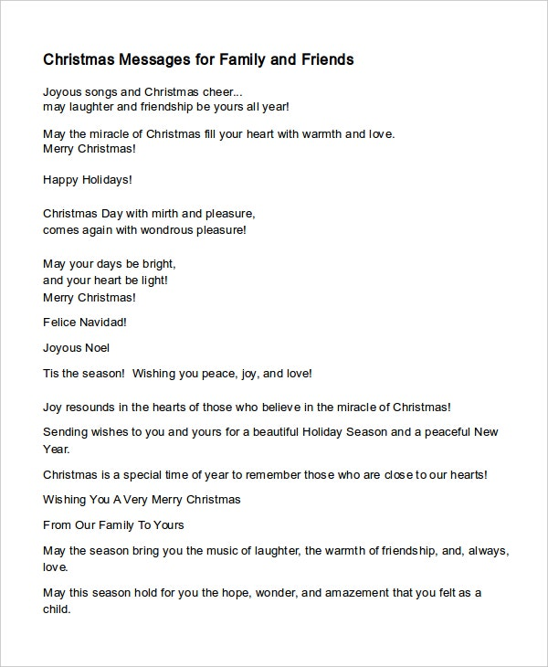 christmas message template