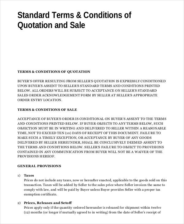 Quotation template 21 free word pdf documents download for Terms and conditions of service template