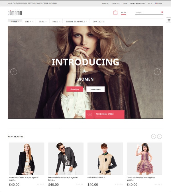 Modern eCommerce Website Theme $69