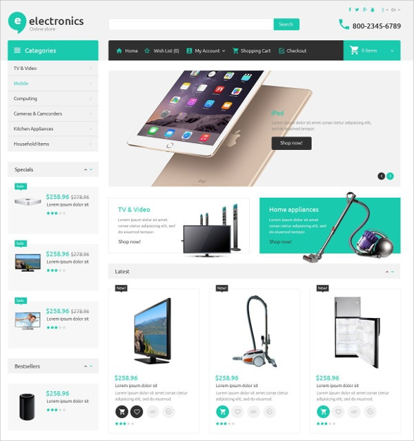Electronic Store eCommerce OpenCart Template $89
