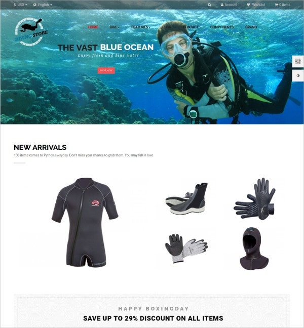 Perfect Diving eCommerce Prestashop Theme $69